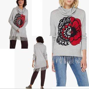 Nwot Desigual L Marylebone Fringed Sweater gray.